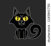 black cat isolated. halloween... | Shutterstock .eps vector #1185841750