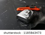 chrome tape measure with... | Shutterstock . vector #1185863473