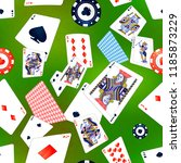a lot of poker cards and casino ... | Shutterstock .eps vector #1185873229