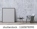 mock up poster frame in hipster ...   Shutterstock . vector #1185878590