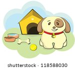 cute dog with house and bone