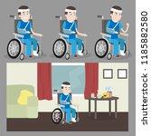injured guy in a wheelchair... | Shutterstock .eps vector #1185882580