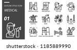 outline style icon pack for... | Shutterstock .eps vector #1185889990