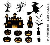 set of pumpkin lantern   devil... | Shutterstock .eps vector #1185892336