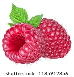 two ripe raspberries with leaf... | Shutterstock . vector #1185912856