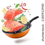 flying salmon steaks and spices ... | Shutterstock . vector #1185912940