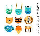 set of cute animal faces.... | Shutterstock .eps vector #1185914026