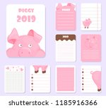 kids notebook page pig template ...   Shutterstock .eps vector #1185916366