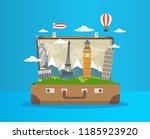 open brown suitcase travelling... | Shutterstock .eps vector #1185923920