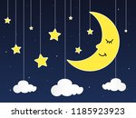 sleeping moon and stars in... | Shutterstock .eps vector #1185923923