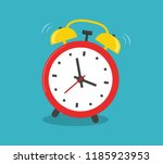 alarm clock red wake up time... | Shutterstock .eps vector #1185923953