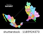 political map of mexico with... | Shutterstock .eps vector #1185924373