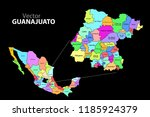 political map of mexico with... | Shutterstock .eps vector #1185924379
