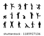set of man icons  various poses ... | Shutterstock .eps vector #1185927136