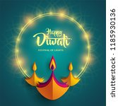 happy diwali. paper graphic of... | Shutterstock .eps vector #1185930136