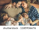 above portrait. family on first ... | Shutterstock . vector #1185936676