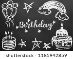 happy birthday. greeting card ... | Shutterstock .eps vector #1185942859