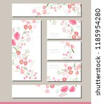 floral  set with visitcards and ... | Shutterstock .eps vector #1185954280
