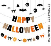 happy halloween set  vector... | Shutterstock .eps vector #1185968236