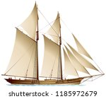 Schooner sailing vessel, a traditional gaff-rigged schooner with two mast and fore-and-aft rigged gaff sails realistic vector illustration