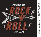 vintage hand drawn rock n roll... | Shutterstock . vector #1185984190