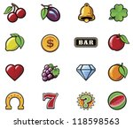 vector slot machine symbols set | Shutterstock .eps vector #118598563