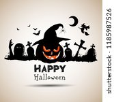 happy halloween day. cute... | Shutterstock .eps vector #1185987526