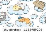 doodle cute little cat vector... | Shutterstock .eps vector #1185989206