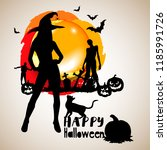 halloween night background... | Shutterstock .eps vector #1185991726