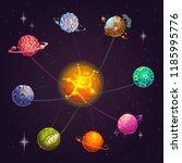 fantasy alien solar system with ... | Shutterstock .eps vector #1185995776