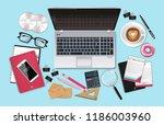 business desk office set... | Shutterstock .eps vector #1186003960