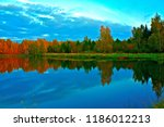 lake and forest at dusk in... | Shutterstock . vector #1186012213