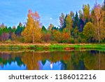 lake and forest at dusk in... | Shutterstock . vector #1186012216