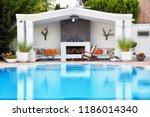 backyard patio of a luxury... | Shutterstock . vector #1186014340