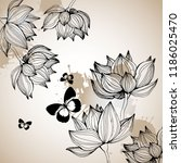peony or rose flower branch... | Shutterstock .eps vector #1186025470