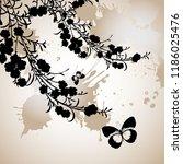 peony or rose flower branch... | Shutterstock .eps vector #1186025476
