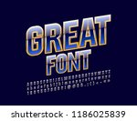 vector blue and gold great font.... | Shutterstock .eps vector #1186025839