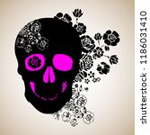 skull with the succulent plants.... | Shutterstock .eps vector #1186031410