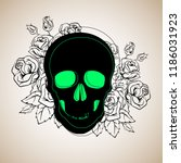 pattern with image a skull and... | Shutterstock .eps vector #1186031923