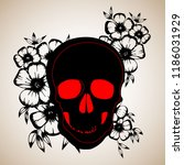 pattern with image a skull and... | Shutterstock .eps vector #1186031929