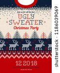ugly sweater christmas party... | Shutterstock .eps vector #1186039069