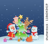 santa claus decorating new year ... | Shutterstock .eps vector #1186043419