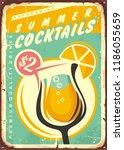 summer cocktails vintage tin... | Shutterstock .eps vector #1186055659