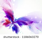 Stock vector abstract butterfly with blue purple and cyan blots 1186063270
