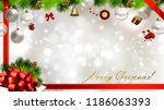 light christmas background with ... | Shutterstock .eps vector #1186063393