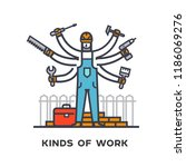 hiring a worker  repairing a... | Shutterstock .eps vector #1186069276