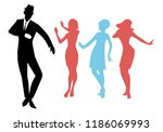 elegant silhouettes of people... | Shutterstock .eps vector #1186069993