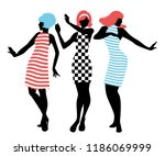 elegant silhouettes of three... | Shutterstock .eps vector #1186069999