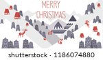 cute merry christmas horisontal ... | Shutterstock .eps vector #1186074880
