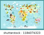 vector map of the world with... | Shutterstock .eps vector #1186076323